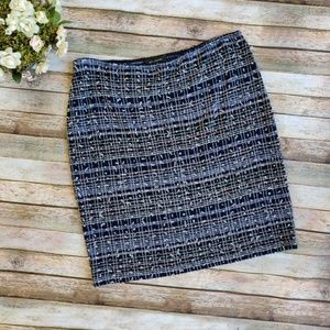 St. John Blue Red White Textured Wool Skirt